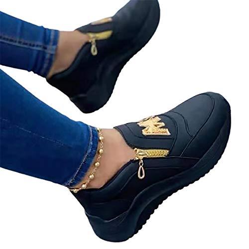SHADIOA Printemps compensées Baskets Plate-Forme Femmes Chaussures Fond épais Mode Fermeture éclair antidérapant décontracté Femmes Chaussures vulcanisées,Noir,39