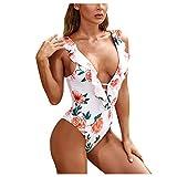 YANFANG Bañador de Las Mujeres Bandeau Bandage con Estampado Floral con Cuello en V Bikini Set Push-Up Traje de baño brasileño Ropa de Playa Traje de baño