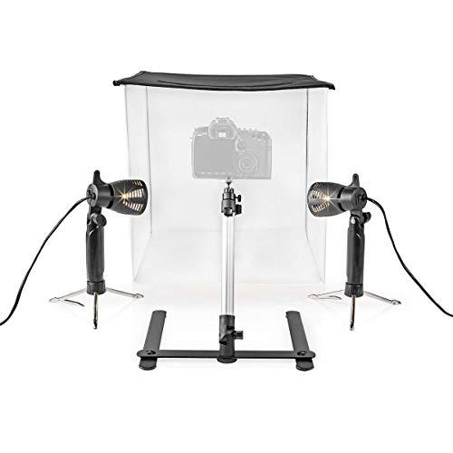 Nedis - LED Fotostudioset - 40 x 40 cm - 6500 K - Opvouwbaar - Twee lampen - Vier achtergrondkleuren - In hoogte verstelbaar mini-statief - Nylon wanden - Draagtas