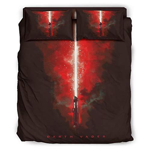 Darth Vader - Juego de cama de 4 piezas con cremallera, incluye 1 funda de edredón y 2 fundas de almohada (240 x 264 cm), diseño de Darth Vader