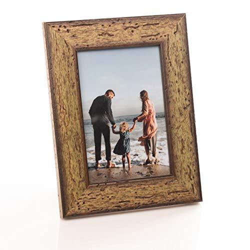 Victoria Collection - Marco de fotos de madera para fotos A4, 4 x 6 (10 x 15), 8 x 6 (15 x 20), marco de fotos de pie adecuado para escritorio y pared | Verde 4x6 (10x15 cm)