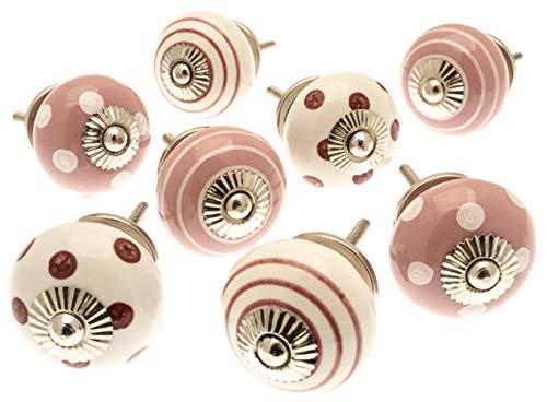 Mango Tree gemischtes Set von 8x altrosa und weiße Punkte und Streifen Keramik-Schrankknäufe (MG-729)