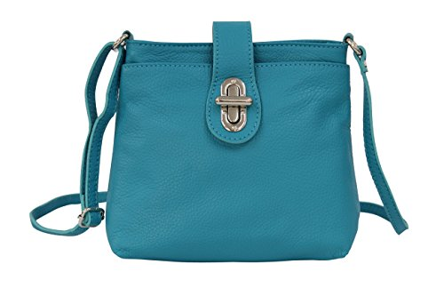 AMBRA Moda Damen echt Ledertasche Handtasche Schultertasche Umhängtasche Citybag Girl Crossover GL007 (Türkis Aquamarin)