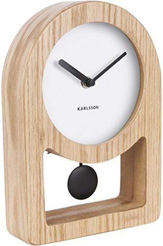 Table clock Lena pendulum white, wood veneer