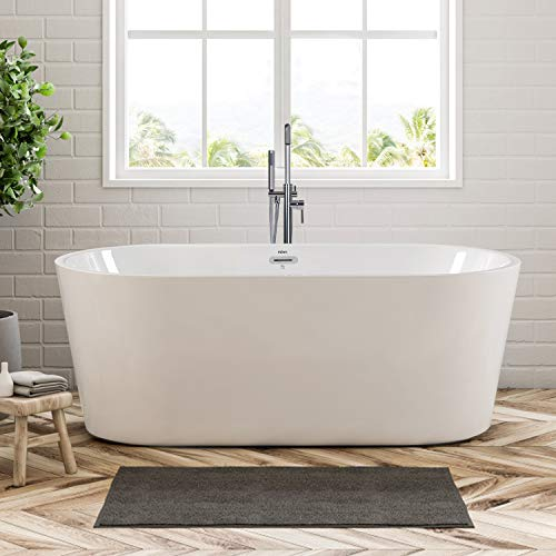 FerdY 59' Freestanding Bathtub, F-02522 Classic Oval Shape Acrylic freestanding tub Modern White, cUPC Certified, Drain & Overflow Assembly Included (F-02522-59'')