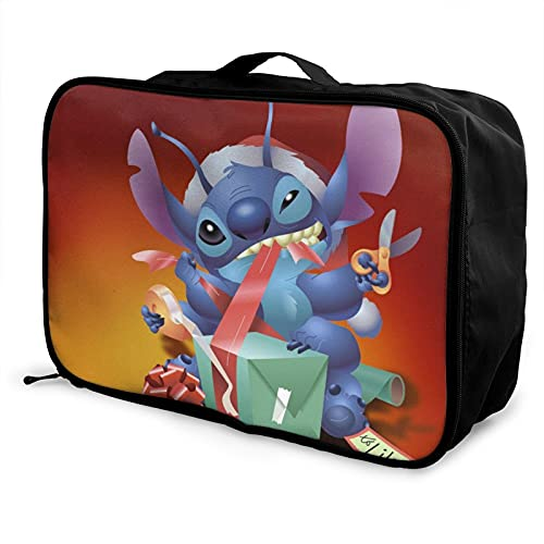 Dibujos animados Lilo Stitch impermeable ligero de gran capacidad portátil bolsa de equipaje bolsas de almacenamiento viaje Duffles bolso