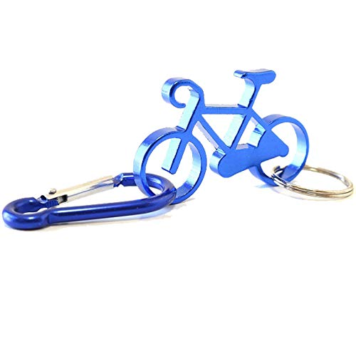 カラビナ キーホルダー 自転車 アルミ キーホルダー メンズ 自転車モチーフ かわいい (ブルー)
