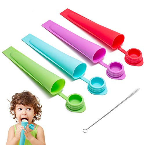 CyvenSmart Silicone Ice Pop Molds for Kids with Lids, 4 Pieces Reusable Ice Popsicle Molds Ice Pop Maker for Kids and Adults DIY Frozen Popsicles with Cleaning Brush
