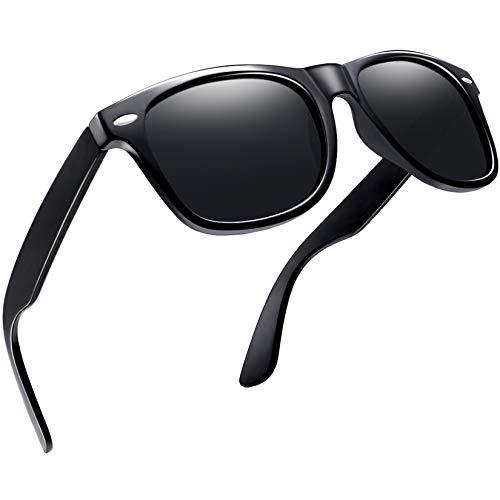Joopin Gafas de Sol Polarizadas Hombre Retro Clásico Gafas Protección UV400 Ventage Original Mujer 100% Colección de Diseñador Negro brillante