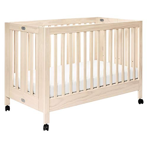Babyletto Maki Full-Size Portable Folding Crib with Toddler Bed Conversion Kit, Washed Natural