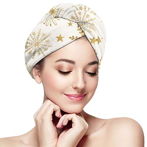 Toalla de pelo de microfibra abrigo copo de nieve oro pelo turbante toalla súper absorbente rápido secado gorras sombrero