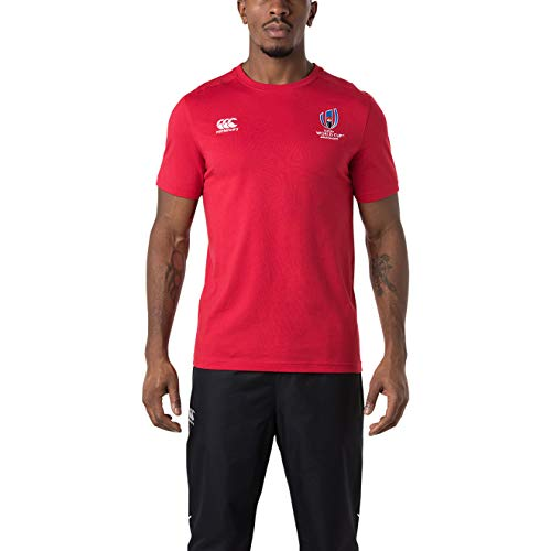Canterbury of New Zealand Men's Official Rugby World Cup 2019 Cotton Jersey T-Shirt, Flag Red, X-Large