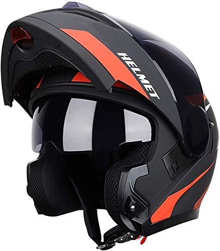 YCRCTC Casco modular abatible, casco de motocicleta integrado de cara completa, certificación DOT/ECE para motocicleta, casco modular con doble visera, motocicleta, ciclomotor, carreras de autos