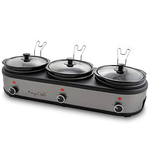 MegaChef MC-1203 Triple 2.5 Quart Slow Cooker and Buffet Server in Brushed Silver and Black Finish...