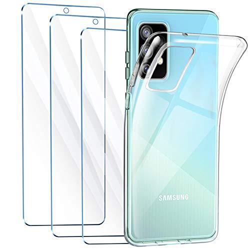 LeathLux Cover Compatibile con Samsung Galaxy A52 5G 4G Trasparente con 3 Pellicola Vetro Temperato, Morbido Silicone Protettivo Bumper TPU Gel Smartphone Custodia Case