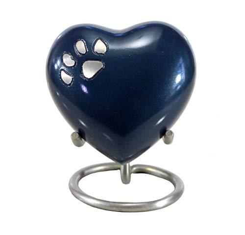 eSplanade Urna de cremación de Mascotas Urnas conmemorativas Contenedor Frasco para recipientes | Urna De Latón | Urna de Metal | Urna de entierro | Recuerdo conmemorativo (Azul con Soporte)