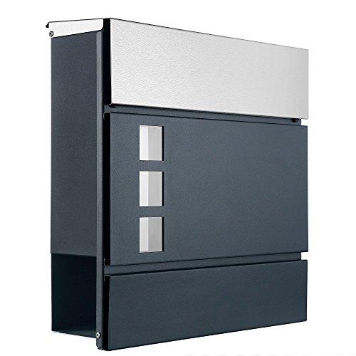 Designer Briefkasten mit Zeitungsrolle und Sichtfenster witterungsfest Mod1 (anthrazit, Deckel aus Edelstahl)