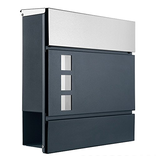 Designer Briefkasten Postkasten 111 Deckel aus Edelstahl, Korpus in anthrazit, Sichtfenster/Zeitungsfach/Zeitungsrolle (111 ADE (Deckel Edelstahl, Korpus anthrazit))