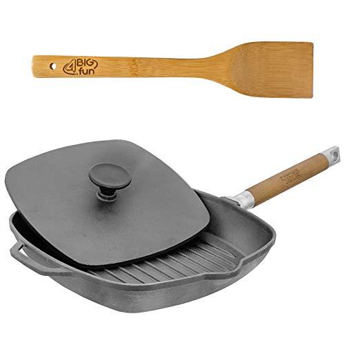 28cm Grillpfanne aus Gusseisen mit abnehmbaren Holzgriff + Deckel-Presse + Pfannenwender aus Bambus von 4big.fun *** Steakpfanne Bratpfanne Pfanne *** Alle Herdarten inkl. Induktion *** 225mm Boden