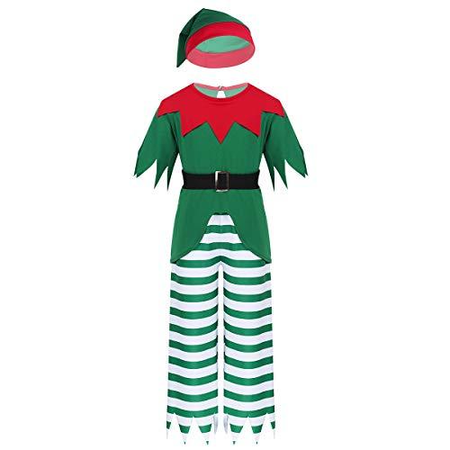 ranrann Disfraz de Duende Bosque para Nios Traje de Navideo Camiseta Manga Corta Shorts Sombrero Cinturn Disfraz Navidad Fiesta Cumpleoas Verde 8 Aos