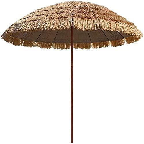 WSDSX Sombrillas Playa,Sombrilla de Paja de Rafia para Patio de 6 pies, sombrilla a Prueba de Viento Sunbrella, sombrilla de Paja Mejorada al Aire Libre, para sombrilla de Playa, cafetería, Pesca,