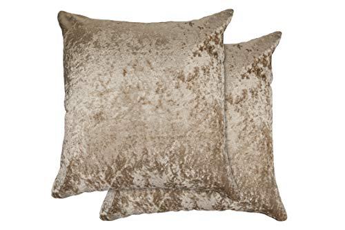 Alpha Star Set of 4 Crushed Velvet Collection Luxury Cushion Cover in Taupe,17x17 (43x43cm