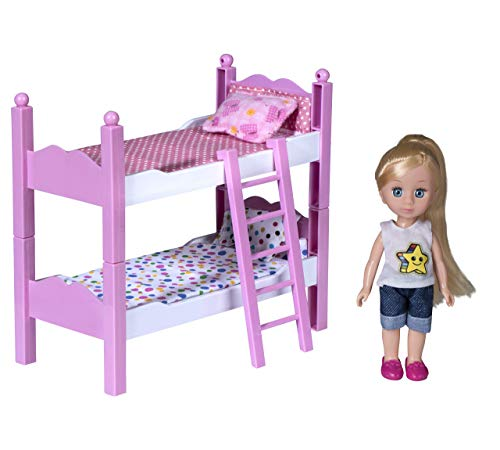Playkidz Mini Doll Double Bed Playset: Pretend Play Mini Doll with Super Durable Double Bed for Children's Doll House or just Fun Play. (Gold)