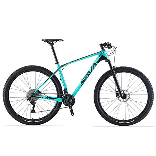 SAVADECK DECK300 Carbon Fiber Mountain Bike 27.5'/29' Complete Hard Tail MTB Bicycle 30 Speed with M6000 DEORE Group Set (Black Blue, 29' 19')