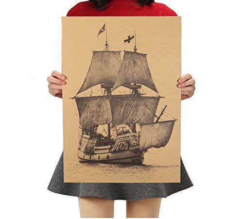 hfwh Muurtattoo - Grote retro zeilboot beroemde aanzicht klassieke foto kraftpapier bar poster retro decoratief schilderij 51 x 36 cm