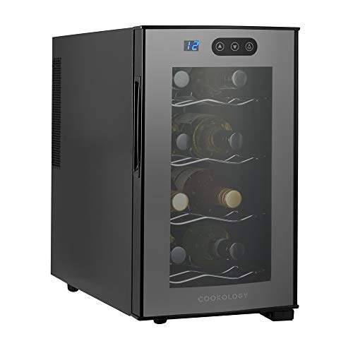 Cookology 8 Bottle CW8BK Mini Tabletop Thermoelectric Wine Cooler, Less Noise & Vibration