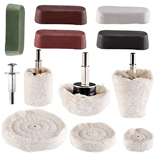 """Hedume Set of 12 Buffing Pad Polishing Wheel Kits Included 5 Pack Rouge Compound, Cone, Column, Mushroom, T-Shaped Wheel Grinding Head with 1/4"""" Handle-for Manifold/Aluminum/Stainless Steel/Chrome"""