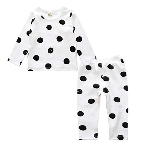 Ensemble de Pyjama en Coton Little Kids Boys pour Filles Vêtements de Nuit géométriques à Manches Longues Ensemble de vêtements de Nuit 2 pièces(G,6-12 Mois)