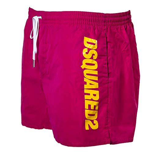 DSQUARED2 Herren Badehose - Boxer Midi, Badeshort, Logo, Mesheinsatz, einfarbig (48 (Medium), Pink)