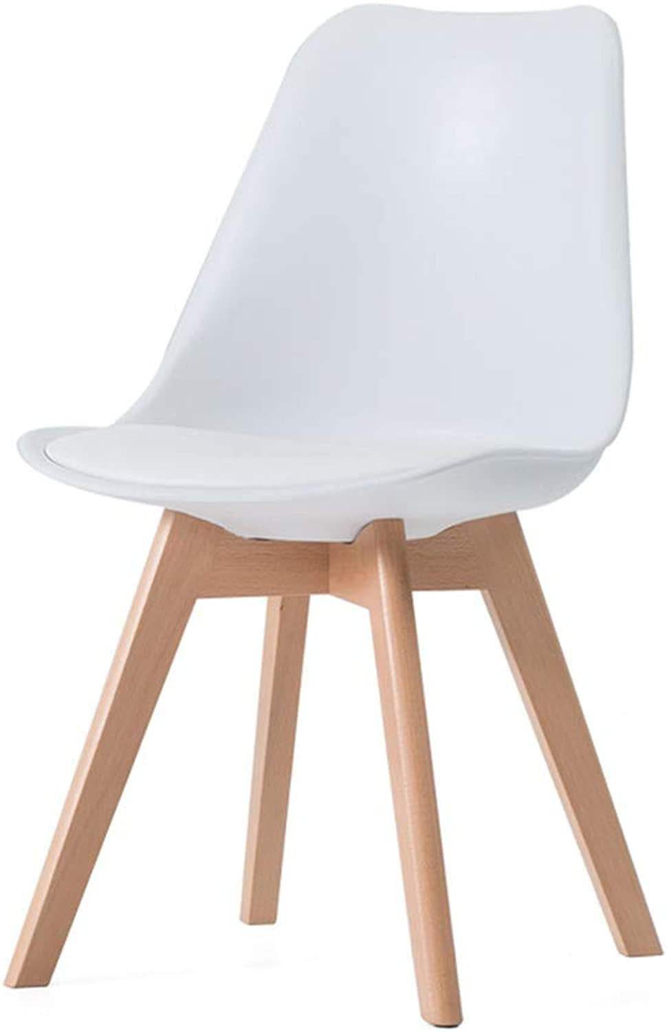 Chair Chair, Solid Wood Chair Legs One-Piece Seat Plate Fit The Human Body Curve Household Rest Area Bedroom Lounge Chair 6 colors (color   White)