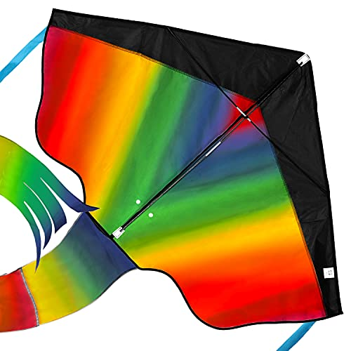 aGreatLife Rainbow Kite for Kids Easy to Fly in Low Wind Speed, Beginners Kids Kite for Family Outdoor Games and Activities, Extremely Easy to Assemble - Large Delta, Giant Beach Kites for Adults