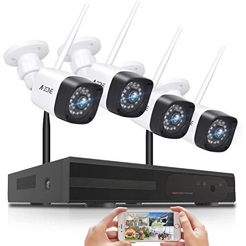 【強化版300万高画素登場】 A-ZONE 防犯カメラ ワイヤレス 屋外wifi 音声警報 無線 監視カメラ 4台 H.265圧縮技術 8ch-NVR システム 増設自由 防犯カメラセット IP66 防水 防塵 AI人感検知 APP通知工事不要(3MPカメラ4台+8チャンネル本体HDD別売り)