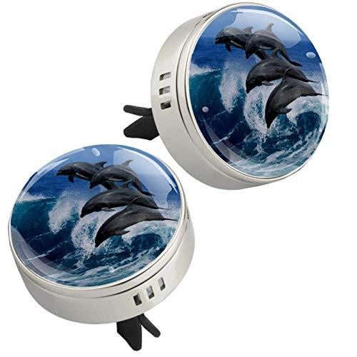 MUOOUM Ambientador de coche con diseño de delfín Ocean Sea Dolphin (plateado)