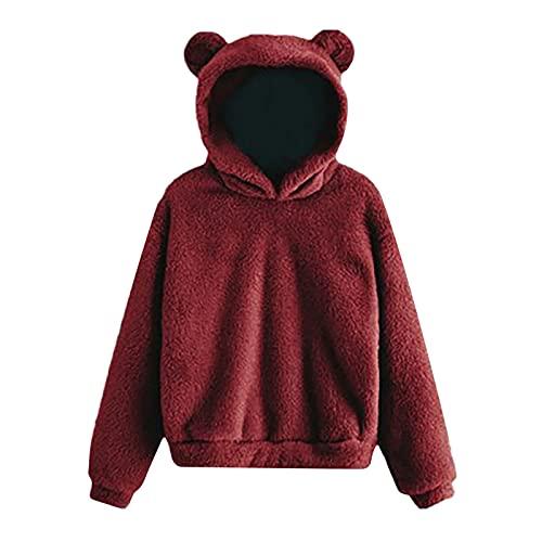 Cute Bear Hoodies for Women Fall Fashion Long Sleeve Shirt Winter Casual Solid Hooded with Ears Blouse Top Sweatshirt Wine