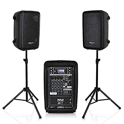 """PA Speaker DJ Mixer Bundle - 300 W Portable Wireless Bluetooth Sound System w/ USB SD XLR 1/4"""" RCA Inputs - Dual Speaker, Mixer, Microphone, Stand, Cable - Home/Outdoor Party - Pyle PPHP28AMX,Black by Sound Around -- Dropship"""