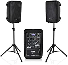"""PA Speaker DJ Mixer Bundle - 300 W Portable Wireless Bluetooth Sound System w/ USB SD XLR 1/4\\"""" RCA Inputs - Dual Speaker, Mixer, Microphone, Stand, Cable - Home/Outdoor Party - Pyle PPHP28AMX,Black"""