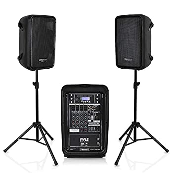 PA Speaker DJ Mixer Bundle - 300 W Portable Wireless Bluetooth Sound System w/ USB SD XLR 1/4  RCA Inputs - Dual Speaker Mixer Microphone Stand Cable - Home/Outdoor Party - Pyle PPHP28AMX,Black
