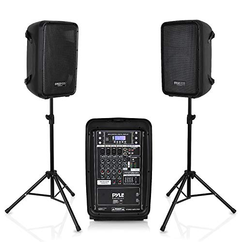 PA Speaker DJ Mixer Bundle - 300 W Portable Wireless Bluetooth Sound System w/ USB SD XLR 1/4' RCA Inputs - Dual Speaker, Mixer, Microphone, Stand, Cable - Home/Outdoor Party - Pyle PPHP28AMX,Black