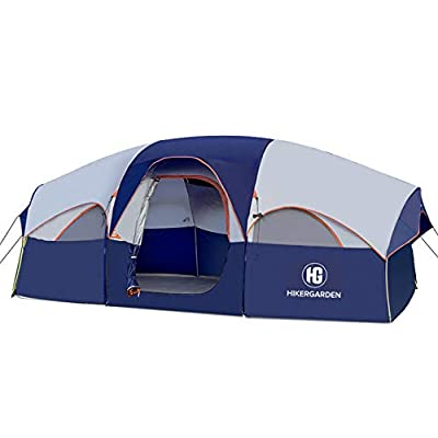 HIKERGARDEN Tent-8-Person-Camping-Tents, Waterproof Windproof Family Tent, 5 Large Mesh Windows, Double Layer, Divided Curtain for Separated Room, Portable with Carry Bag, for All Seasons