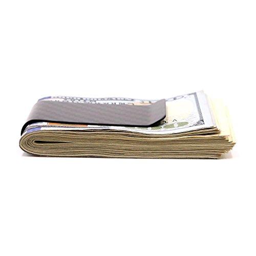 Carbon Fiber Cash Money Clip Wallet Slim Credit Card Holder Minimalist for Men & Women (Black 1)