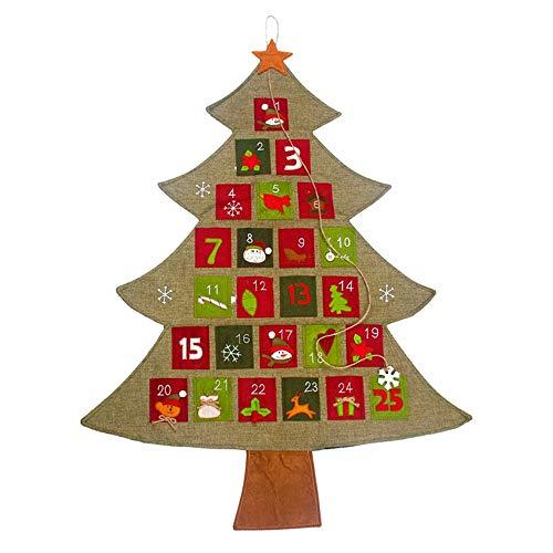 PoeHXtyy Calendario de Adviento de Navidad de Fieltro con Bolsillo Calendario de Cuenta Regresiva de 25 días Calendario de árbol de Navidad para Colgar en la Pared para niños Decoraciones de Navidad