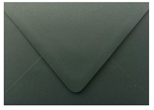 Dark Forest Green Contour Euro Flap 100 Boxed A7-70lb Envelopes (5-1/4 x 7-1/4) for 5 x 7 Invitations Announcements Weddings Showers Communion Confirmation Cards by The Envelope Gallery