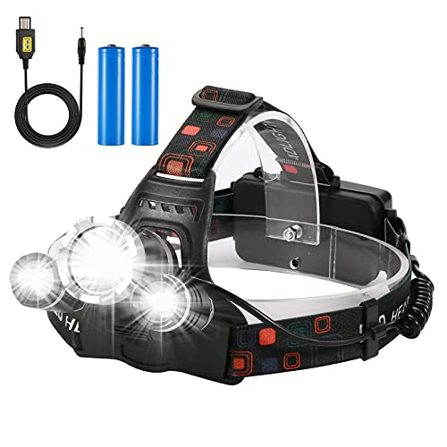 Yizhet Linterna Frontal LED Recargables Luces Super Brillantes,4 Modos de Luz y hasta 300 Metros Cabeza Impermeable para Camping/Pesca/Ciclismo/Carrera/Caza