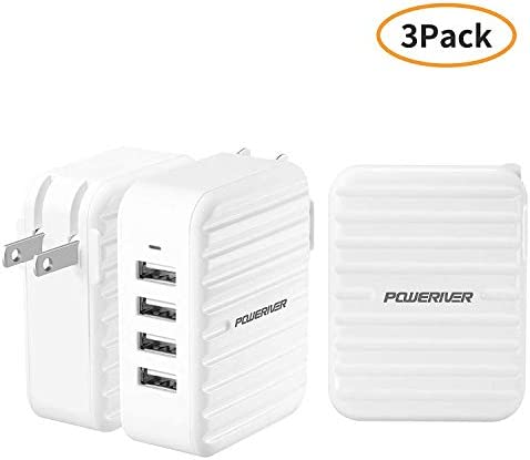 3 Pack USB Wall Charger 4 Port Charging Station Travel Wall Charger with SmartID Technology product image