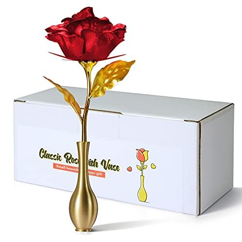 THYGIFTREE regalo de rosa roja para siempre, jarrón de rosas infinitas de flores artificiales clásicas, regalo eterno femenino único hermoso y feliz, regalo simple de cumpleaños y día de la madre