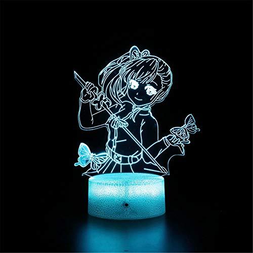 Demon Slayer B 3D Luz nocturna LED Lámpara de ilusión óptica de 16 colores Cambio de decoración lámpara – Regalo perfecto para niños y habitación decoración
